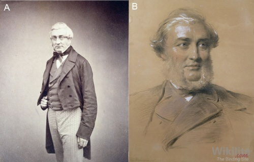 Figure 2.1. Henry Bence Jones (A) Albumen print by Maull and Polyblank c.1850s (B) Charcoal and chalk on paper by George Richmond 1865.