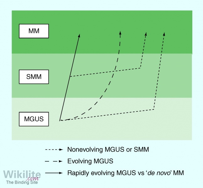 ​Figure 13.8. Proposed models for the patterns of progression from MGUS to MM [[type=r|id=280]]*.