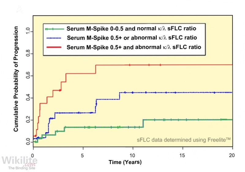 Figure 21.4. Risk of progression in solitary plasmacytoma of bone using sFLCs and serum monoclonal immunoglobulins.