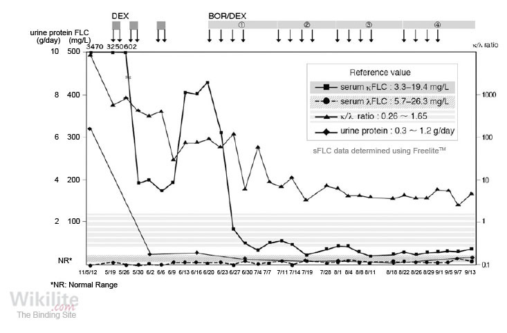 Figure 15.11. Serial sFLC and urine protein measurements in a patient with LCMM during treatment.