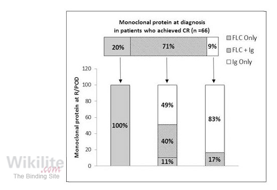 ​Figure 19.4. Changes in monoclonal protein type at relapse or progression of disease (R/POD).